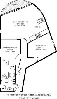 Large floorplan for Kinetica Apartments, Hackney, E8