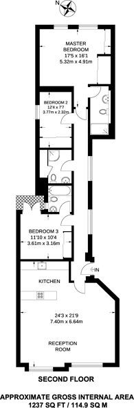 Large floorplan for Southampton Row, Bloomsbury, WC1B