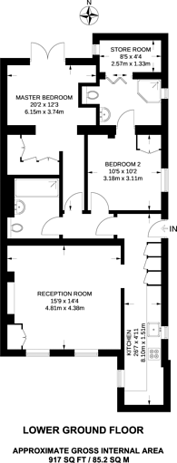 Large floorplan for Wandsworth Common North Side, Wandsworth Common, SW18