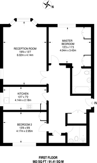 Large floorplan for Arterberry Road, West Wimbledon, SW20