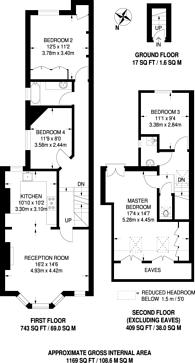 Large floorplan for Micklethwaite Road, West Brompton, SW6