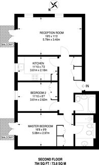 Large floorplan for Brompton Park Crescent, West Brompton, SW6