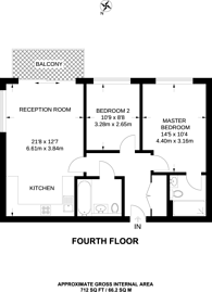 Large floorplan for Jefferson Plaza, Bow, E3