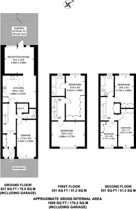 Large floorplan for Woodside Avenue, Woodside Park, N12