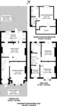Large floorplan for Thirsk Road, Tooting, CR4
