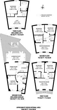 Large floorplan for Thames Crescent, Chiswick, W4