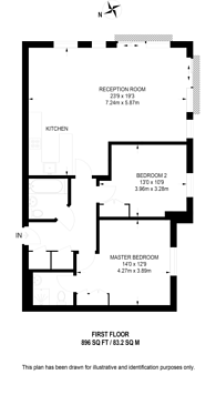 Large floorplan for Mill Pond Close, Stockwell, SW8