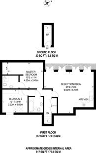 Large floorplan for Hampton Court Mews, Hampton Court, KT8