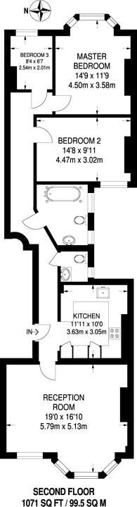 Large floorplan for Smyrna Road, West Hampstead, NW6