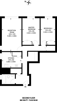 Large floorplan for Fellows Road, Swiss Cottage, NW3