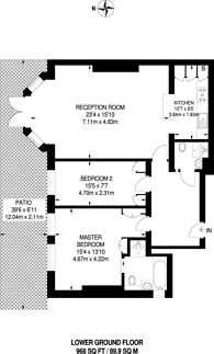 Large floorplan for Compayne Gardens, South Hampstead, NW6