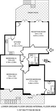Large floorplan for Ashley Lane, Hendon, NW4