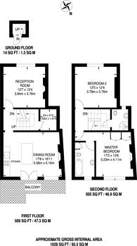 Large floorplan for Stanwick Road, West Kensington, W14