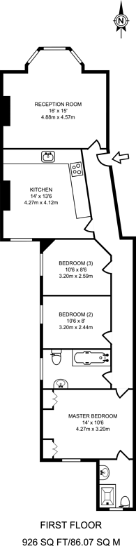 Large floorplan for Elmfield Road, Balham, SW17