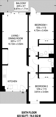 Large floorplan for Vita, Ruskin Square, Croydon, CR0