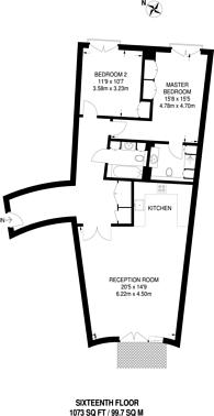 Large floorplan for New Providence Wharf, Canary Wharf, E14