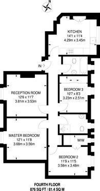 Large floorplan for Kelvedon Road, Parsons Green, SW6