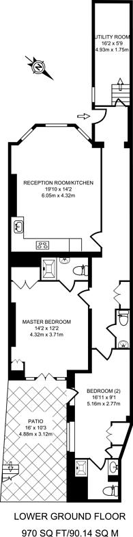 Large floorplan for Earls Court Road, South Kensington, W8