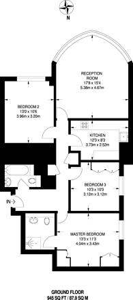 Large floorplan for Chartfield Avenue, West Putney, SW15