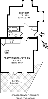 Large floorplan for Cross Road, North Kingston, KT2