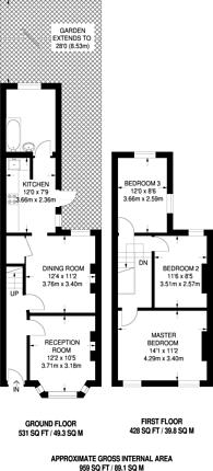 Large floorplan for Millais Road, Bush Hill Park, EN1