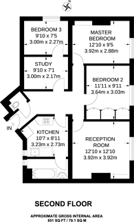 Large floorplan for Chalton St, Somers Town, NW1