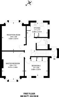 Large floorplan for Portsmouth Road, Thames Ditton, KT7