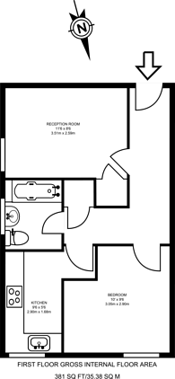 Large floorplan for Robinson Road, Colliers Wood, SW17
