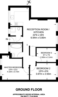 Large floorplan for Watts Street, Wapping, E1W
