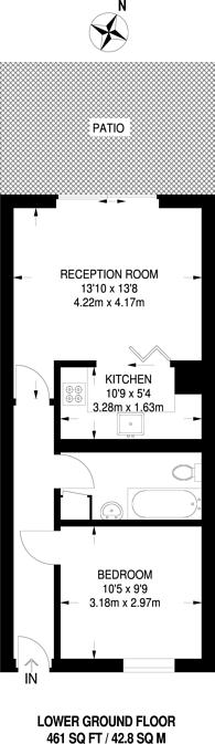 Large floorplan for Heathcote Street, Bloomsbury, WC1N