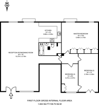 Large floorplan for Chilton Street, Tower Hamlets, E2