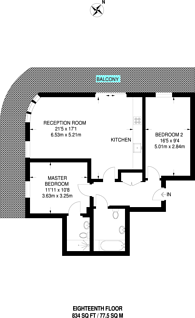 Large floorplan for Renaissance, Lewisham, SE13