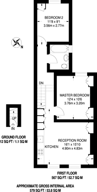 Large floorplan for Briscoe Road, Colliers Wood, SW19