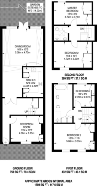Large floorplan for Alma Terrace, Wandsworth, SW18