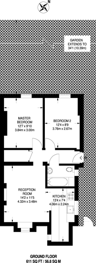 Large floorplan for Princess Road, Kilburn, NW6