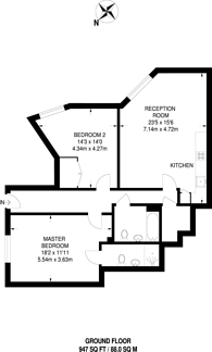 Large floorplan for Heligan House, Canada Water, SE16