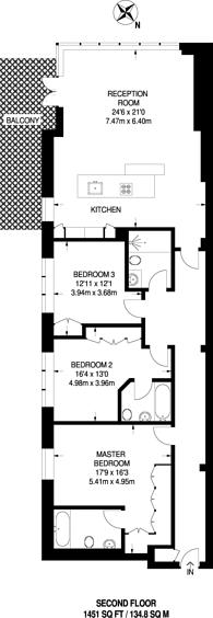 Large floorplan for Harrods Village, Barnes, SW13