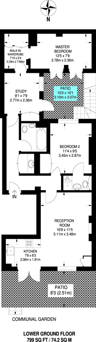 Large floorplan for Leinster Square, Bayswater, W2