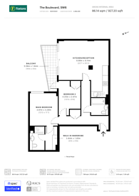 Large floorplan for Chelsea Vista, Imperial Wharf, SW6