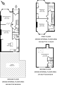 Large floorplan for Cleveland Gardens, Golders Green, NW2