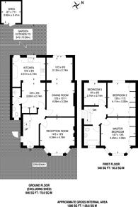 Large floorplan for Dollis Hill Avenue, Dollis Hill, NW2