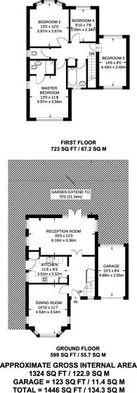Large floorplan for Woodlands Avenue, New Malden, KT3