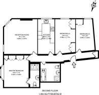 Large floorplan for Evelyn Mansions, Westminster, SW1P