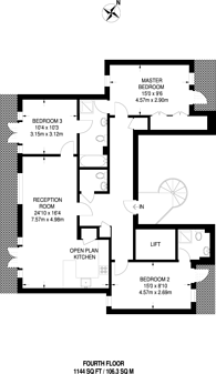 Large floorplan for Devonshire Street, Chiswick, W4