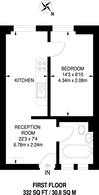 Large floorplan for Menlo Gardens, Upper Norwood, SE19