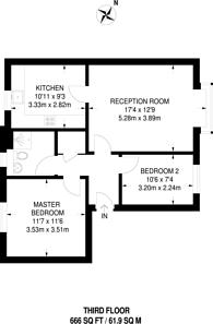 Large floorplan for Rossetti Road, Bermondsey, SE16