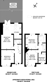 Large floorplan for Leithcote Gardens, Streatham Hill, SW16