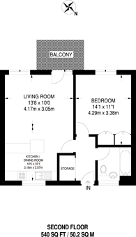 Large floorplan for The Ladbroke Grove, Ladbroke Grove, W10