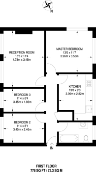 Large floorplan for Bow Road, Bow, E3