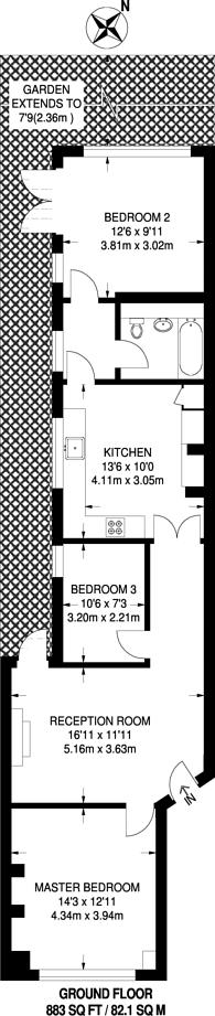 Large floorplan for Newlands Terrace, Diamond Conservation Area, SW8
